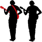 Silhouette musician plays the guitar. Vector illustration Stock Illustration