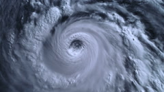 The hurricane storm, tornado,  with lightning over the ocean., satellite view. Stock Footage