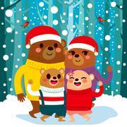 Christmas Bear Family Stock Illustration