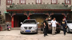 Taxi drivers wait for passengers in Xian, China. Stock Footage
