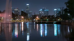 LA Downtown Reflections on Lake 01 Echo Park  4K Stock Footage