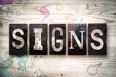 Signs Concept Metal Letterpress Type Stock Illustration