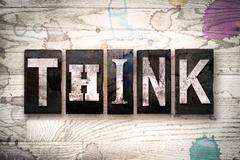 Think Concept Metal Letterpress Type Stock Illustration