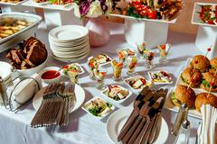 Catering service. Restaurant table with food Stock Photos