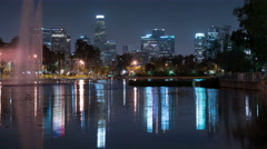 8K LA Downtown Reflections on Lake 01 Echo Park Stock Footage