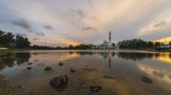 Tengku Tengah Zaharah Mosque, Terengganu. Time Lapse Stock Footage