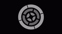 Loading screen circular, white gray on black background - 4k 30fps loop - vid Stock Footage