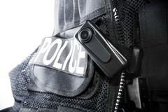 Police body camera on tactical vest for law enforcement Stock Photos