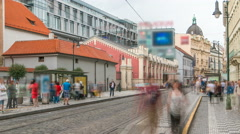 One of the symbol of Prague a tram - street car turning in Old Town Stare Mesto Stock Footage
