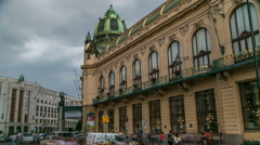 View of Municipal House and their art nouveau facades timelapse in Prague, Czech Stock Footage