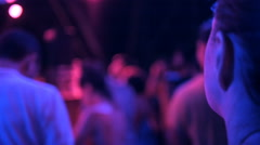 Party, holidays, celebration, nightlife and people concept - smiling friends Stock Footage