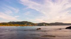 Summer day sunset sky kata beach bay panorama 4k time lapse thailand Stock Footage
