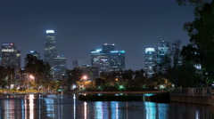 6K LA Downtown Reflections on Lake 04 Echo Park Stock Footage