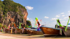 Sunny day krabi beach tourist boat park 4k time lapse thailand Stock Footage