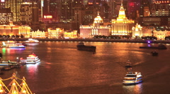 4k time lapse: Areal view of beautiful Bund  night,Shanghai Stock Footage