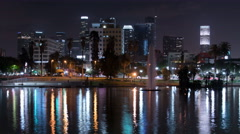 8K LA Downtown Reflections on Lake 10 MacArthur Park Stock Footage