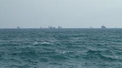 View ships at anchorage at horizon Stock Footage