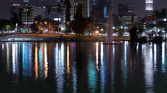 8K LA Downtown Reflections on Lake 11 MacArthur Park Stock Footage
