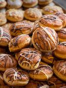 Freshly made sweet doughnuts Stock Photos