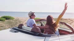 Young Couple Arrive At Beach In Convertible Happy Kiss Joyful Vacation New Stock Footage