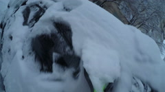 Man removing snow from his car - point of view Stock Footage
