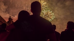 Man And Woman Hugging Silhouette Fireworks Festival Event Celebration Young Love Stock Footage