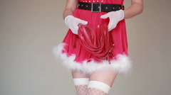 Sexy Santa Girl caresses herself. sex games. holding a whip Stock Footage