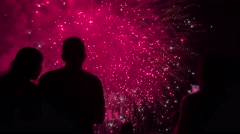 Fireworks Celebration In Front Of Man And Woman Silhouettes Romantic Love Stock Footage