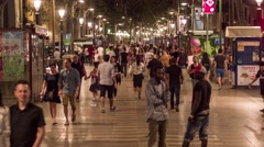 BARCELONA, SPAIN - CIRCA JULY 2016: Timelapse while people walk on La Rambla Stock Footage