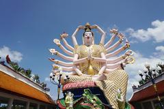 Buddhist Guan Yin statue at Plai Laem temple Stock Photos