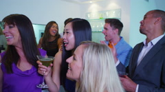 4K Portrait smiling mixed ethnicity friends having fun in nightclub Stock Footage