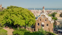 BARCELONA, SPAIN - CIRCA JULY 2016: Tourists taking pictures through Park Guell Stock Footage
