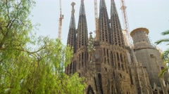 Sagrada Familia Cathedral In Barcelona Spain Exterior Stock Footage