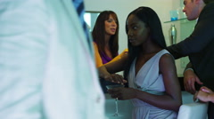 4K Portrait beautiful young woman at the bar in nightclub Stock Footage