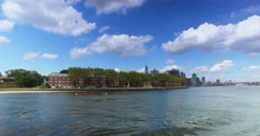 View of Governors Island with Freedom Tower in Background  	 Stock Footage