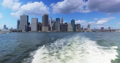 View of Lower Manhattan Skyline as Seen from East River Ferry   Stock Footage