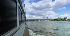 View of Brooklyn Bridge as Seen from East River Ferry   Stock Footage