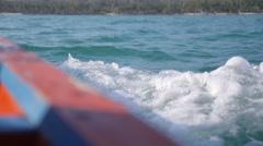 Splashing Sea Waves Overboard of Sailing Motor Fishing Boat Stock Footage