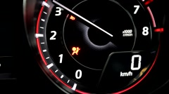 Start engine indication on modern dashboard with illumination inside the car Stock Footage