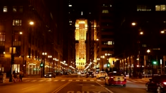 Chicago Loop at Night on LaSalle Street Stock Footage