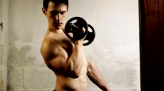 Bicep Curl Exercise Stock Footage