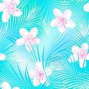 Tropical frangipani hibiscus with blue palms seamless pattern Stock Illustration