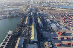 Aerial View of Industrial Waterfront in Long Beach California Stock Photos