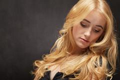 sensual blond woman - stock photo