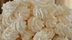 Lot of white meringue cake Stock Footage