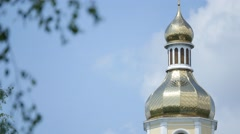 Golden dome of Cathedral in Ukraine Stock Footage