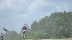 Sportsman on a motorcycle jumping. slow motion Stock Footage