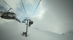 View of ski lifts construction at mountains. Ski resort. Snowboarding. Open Stock Footage
