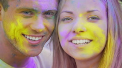 Happy smiling faces of joyful young people looking at camera, cheerful emotions Stock Footage
