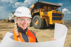 Female worker at an open pit Stock Photos